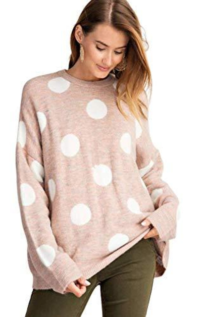Polka Dot Blush Knitted Sweater Tunic