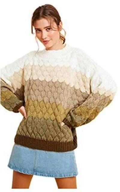 Ombre Gradation Stripe Textured Pullover Tunic Sweater