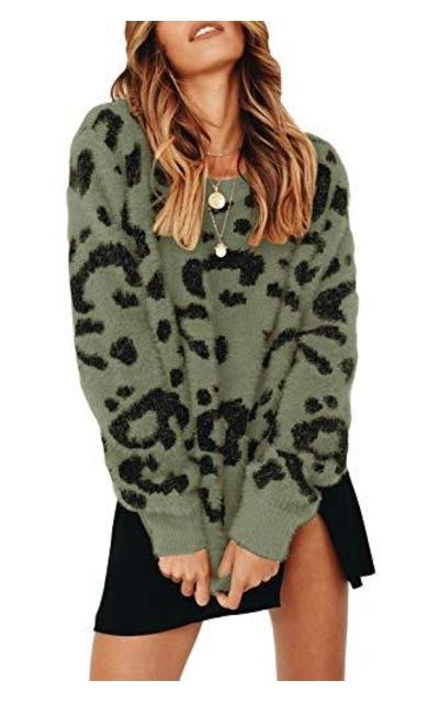 Saodimallsu Leopard Crewneck Sweater