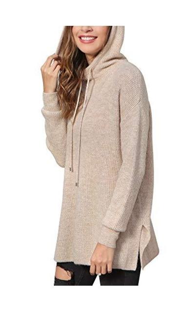 Hoodies Pullover Lightweight Knit Hooded Sweatshirt
