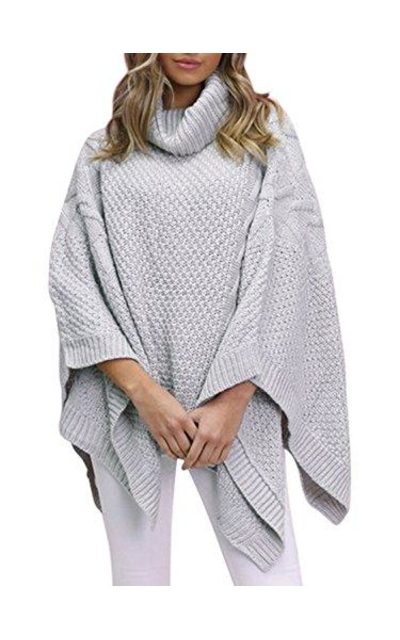 BerryGo Turtleneck Poncho Pullovers Sweater