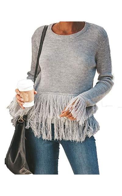 HZSONNE Crew Neck Tassel Hem Boho Pullover Sweater