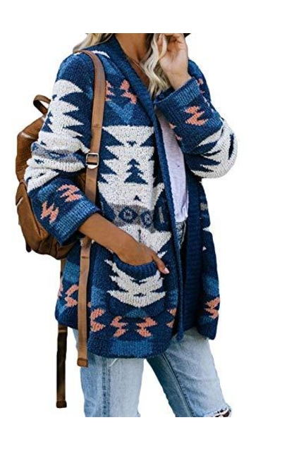 SIDEFEEL Fuzzy Knit Cardigan with Pockets