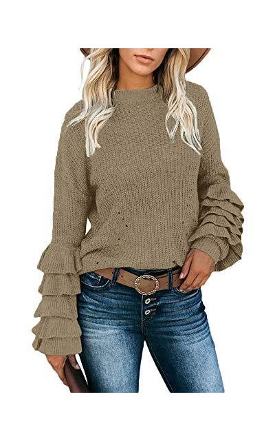 Valphsio Layered Ruffle Sleeve Sweater