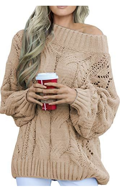 CILKOO Off the Shoulder Cable Knit Sweater