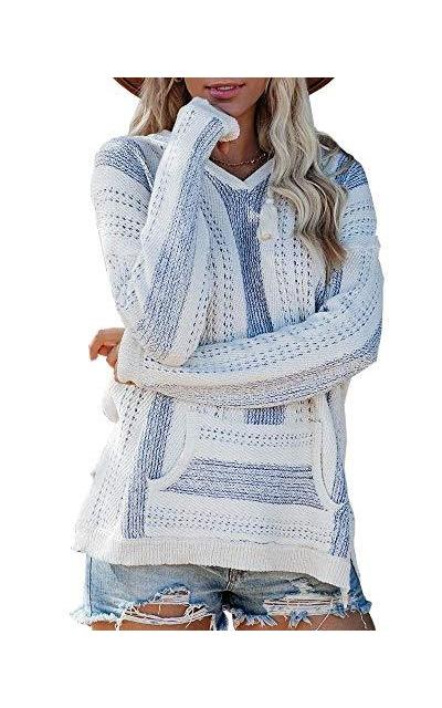 Saodimallsu V Neck Hooded Sweater
