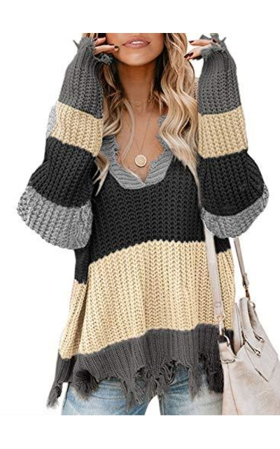 Elapsy Striped Ripped Distressed Sweater