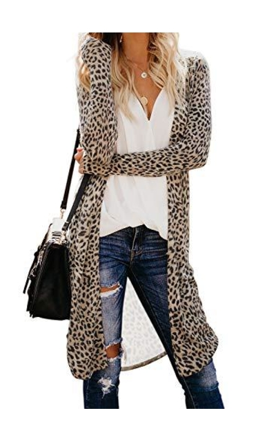 Dokotoo Leopard Printed Knitted Long Cardigan