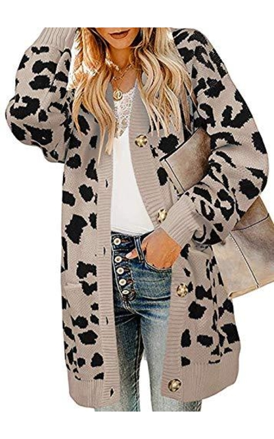 BTFBM  Leopard Print Cozy Sweater Long Cardigan