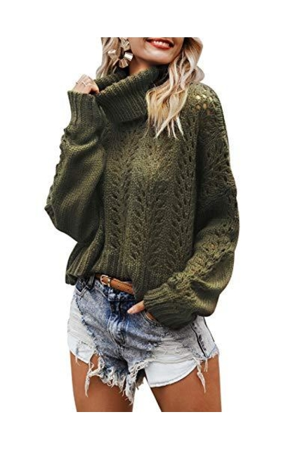 SollinarryTurtleneck Hollow Out Knit  Sweater