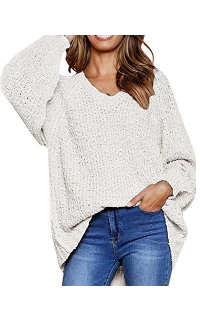 Msikiver Oversized V Neck Sweaters