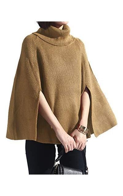 Spicy Sandia Turtleneck Poncho Sweater Cape