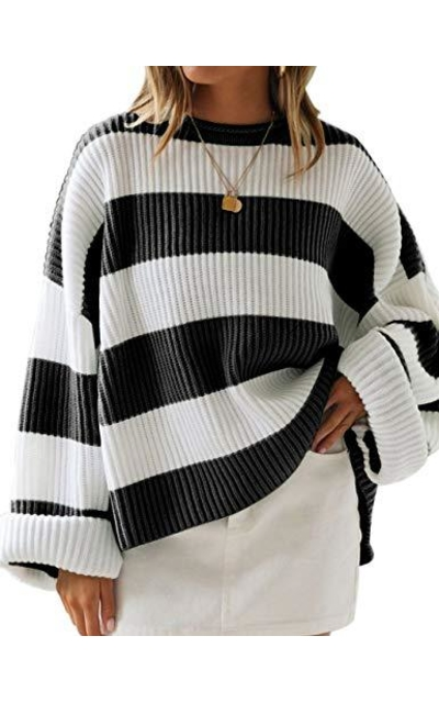 LEANI  Color Block Striped Oversized Sweater