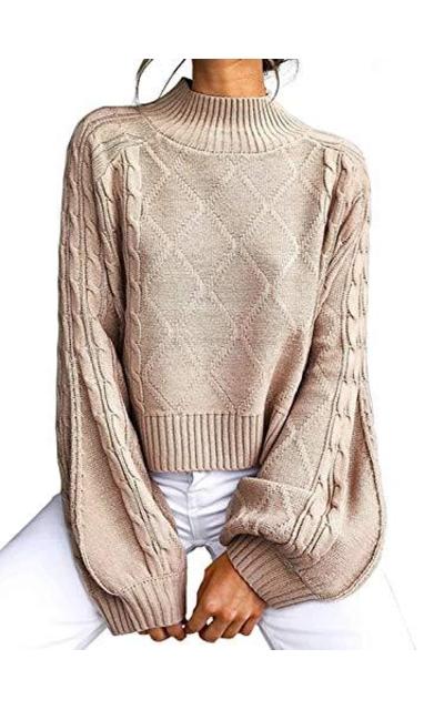 Mock Turtleneck Lantern Cable Knit Sweater