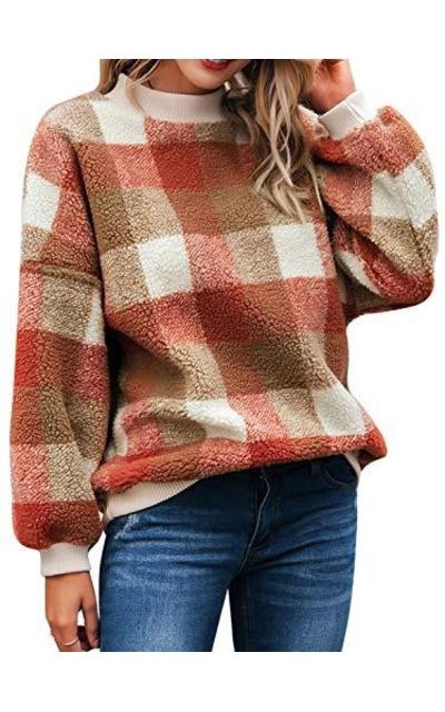Miessial Plaid Fuzzy Pullover Sweatshirts