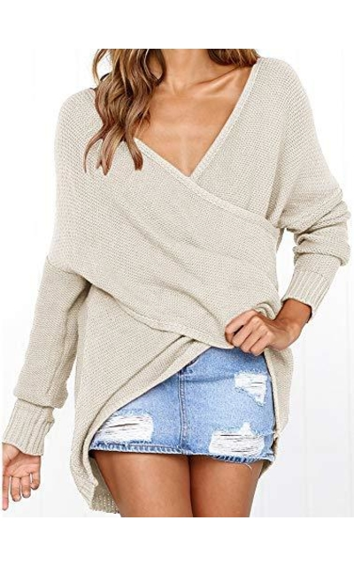 Msikiver Deep V Neck Wrap Sweater