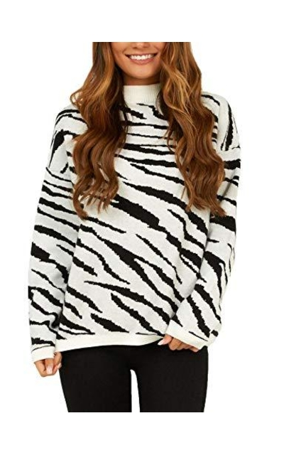 Relipop Zebra Striped Knit Sweater
