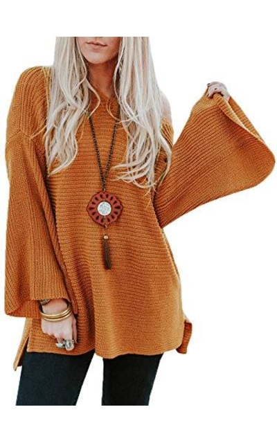 Lynwitkui Bell Sleeve Knitted Sweater