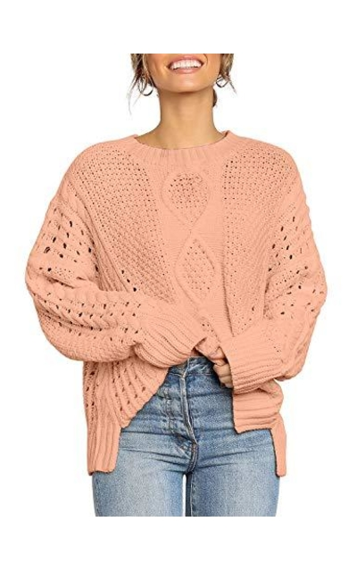 GRAPENT Cable Knit Long Sleeves Sweater