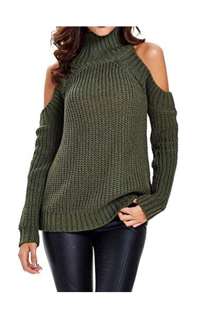Choies Green High Neck Cold Shoulder Sweater