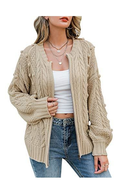 MsLure Cable Knit Chunky Sweater Cardigan