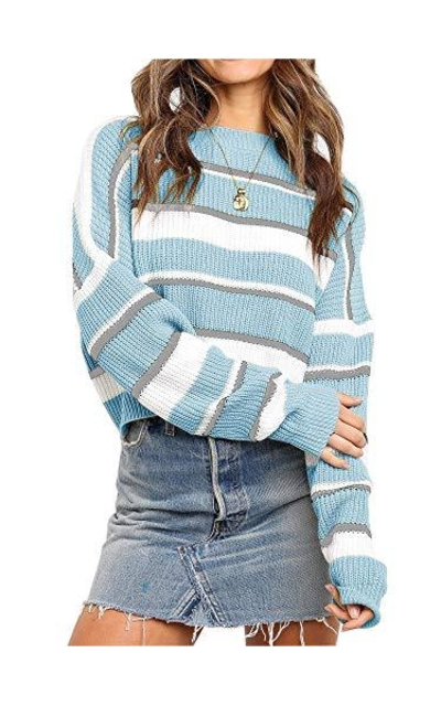 ANRABESS Striped Color Block Sweater