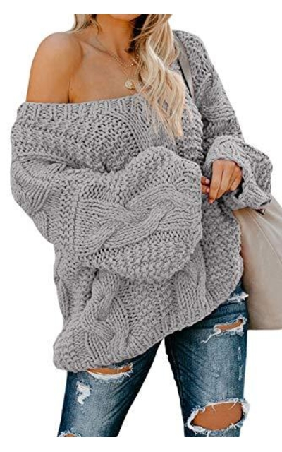 Astylish Chunky Off The Shoulder Oversize Sweater