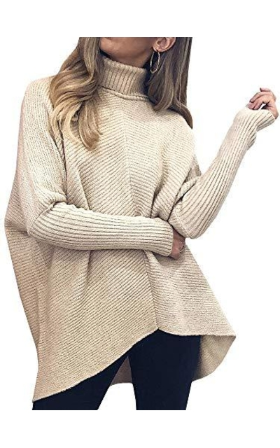 Tutorutor Turtleneck Ribbed Knit Pullover Sweater