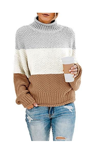 Tutorutor Color Block Pullover Sweaters