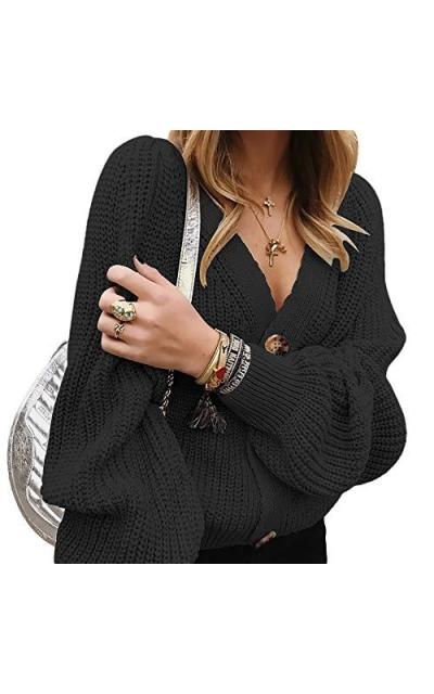 Byinns Knit Puff Sleeve Lantern Cardigan  Sweater