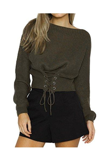 BerryGo Lace Up Knit Pullover Sweater