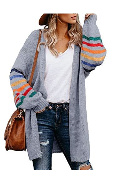 Asvivid Colorblock Striped Oversized Long Sweater