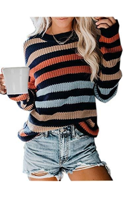 MILLCHIC Rainbow Striped Sweater