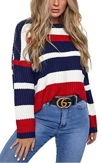 Hibluco Striped Loose Sweater