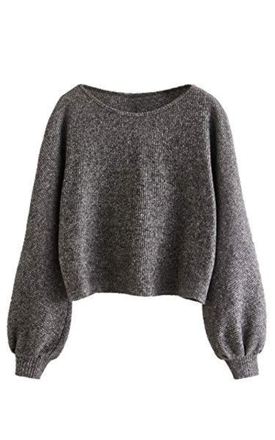SweatyRocks Solid Pullover Cropped Sweater