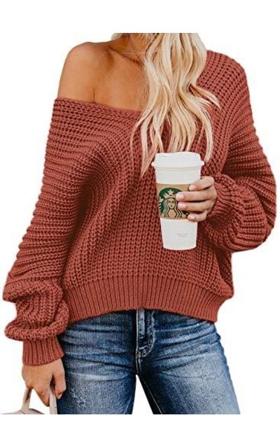 Bdcoco Off Shoulder V Neck Knit Sweater