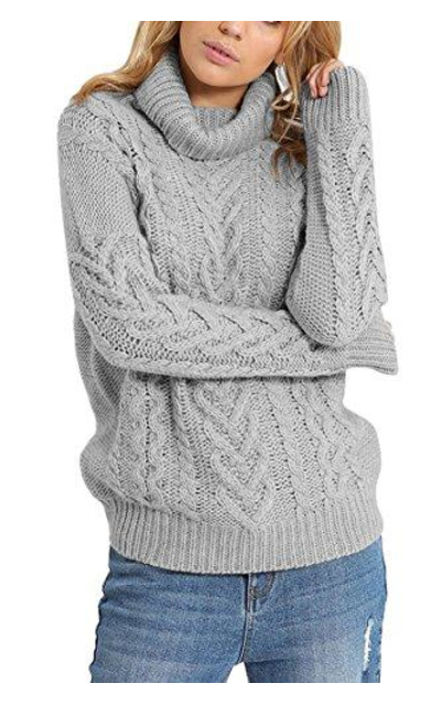 Pink Queen Turtleneck Ribbed Cable Knit Sweater