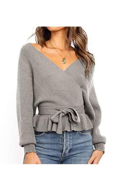 ZESICA V Neck Belted Waist Ruffle Knitted Sweater