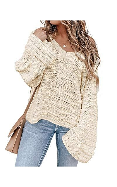Tutorutor V Neck Bell Sleeve Sweater