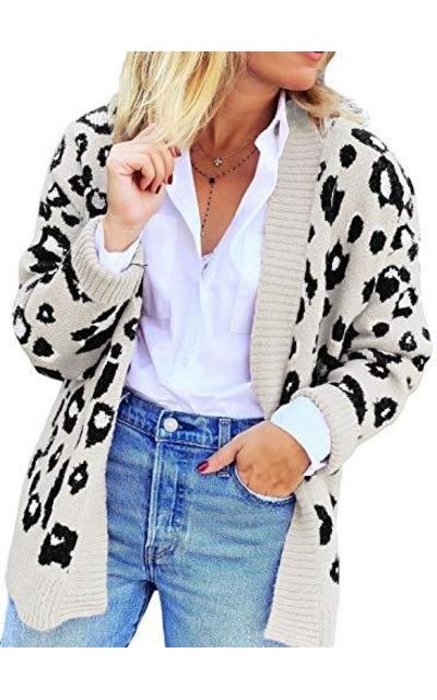 Dearlove Leopard Print Open Front Cardigan