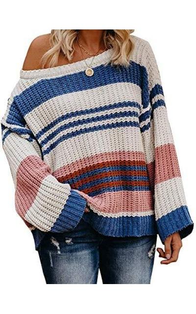 ZESICA Striped Color Block Sweater