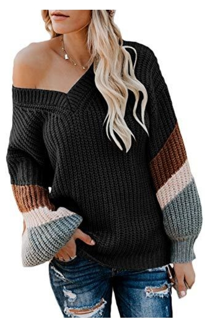 FAFOFA Oversized Puff Sleeve Sweater