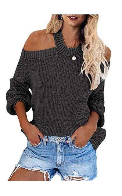 HOTAPEI Off Shoulder Halter Neck Sweater