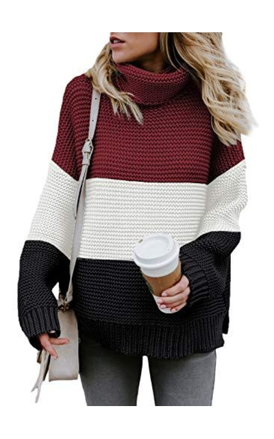 Asvivid Color Block Turtleneck Sweater