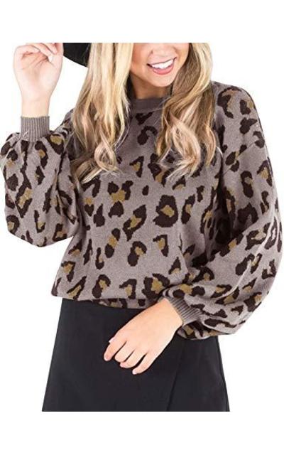 MEROKEETY Leopard Sweater