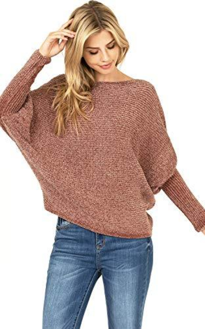 Favlux  Soft Chenille Knit Sweater w Batwing Sleeves