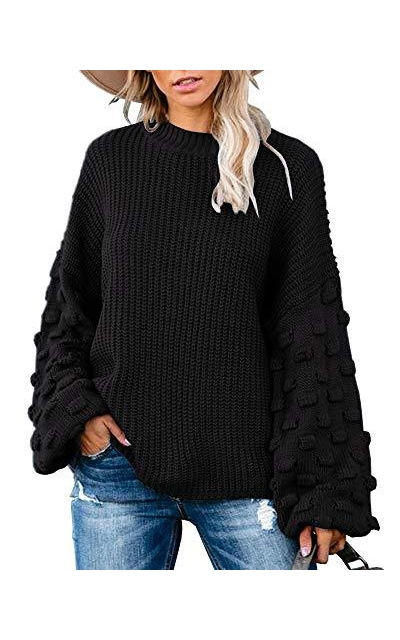 Tutorutor Pom Pom Sleeve Pullover Sweater