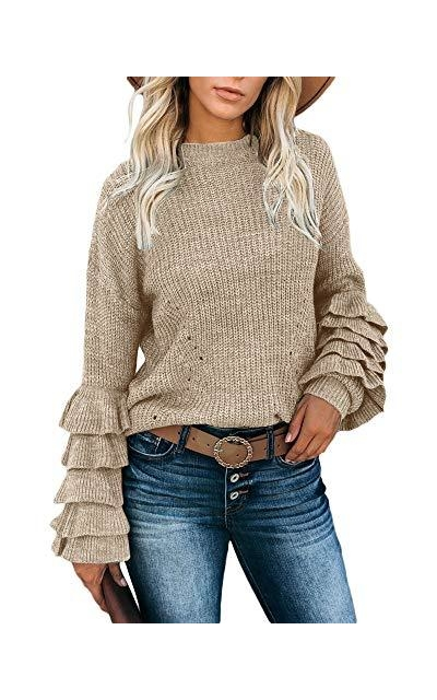 Yobecho Tiered Long Sleeve Sweater