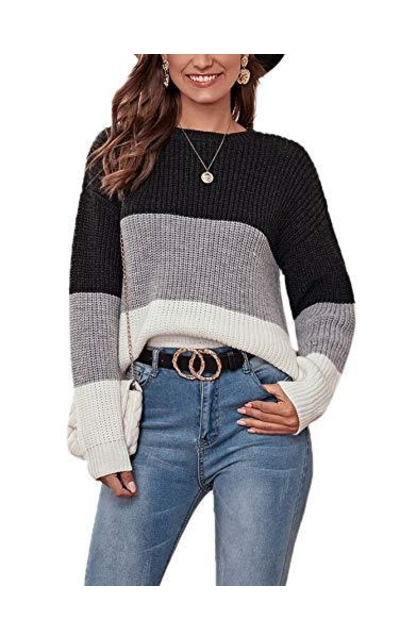 SweatyRocks Casual Color Block Long Sleeve Sweater
