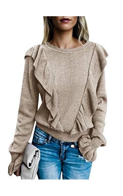 Valphsio Rib Ruffle Front Sweater